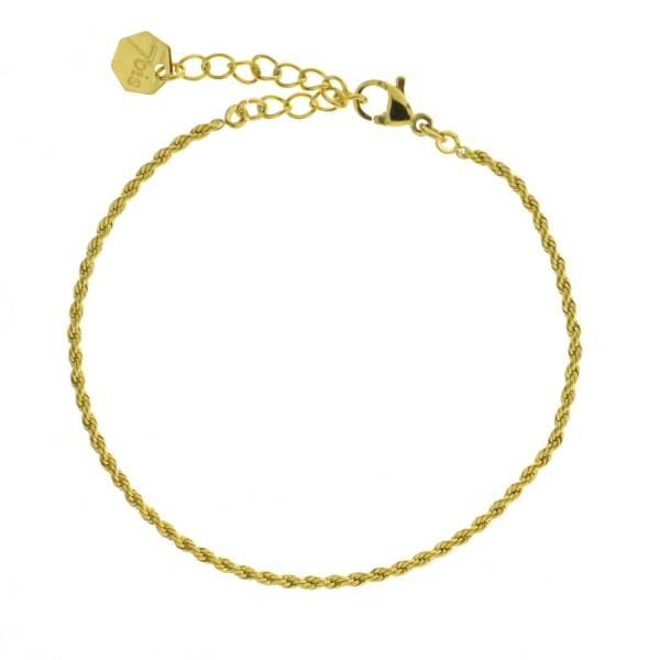 371618DOR Bracelet Chaîne Moyenne Doré Ajustable Acier Inoxydable