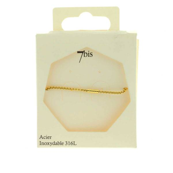 371623DOR Bracelet Chaîne Épaisse Doré Ajustable Acier Inoxydable