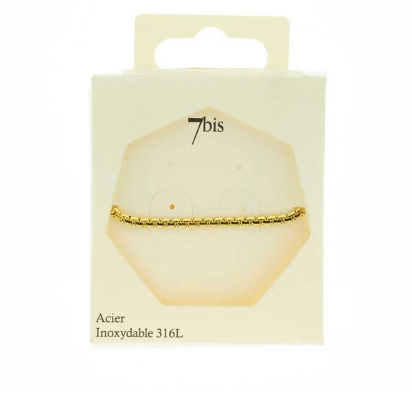 371625DOR Bracelet Chaîne Épaisse Doré Ajustable Acier Inoxydable