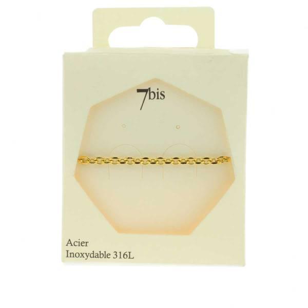 371626DOR Bracelet Chaîne Épaisse Doré Ajustable Acier Inoxydable