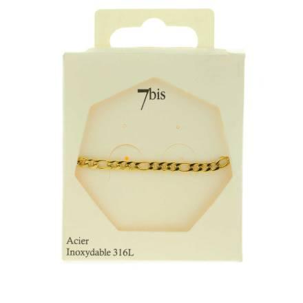 371627DOR Bracelet Chaîne Épaisse Doré Ajustable Acier Inoxydable
