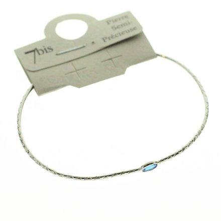 371673BLEARG Bracelet Jonc Argent Bleu Ajustable Ovale Cloisonné