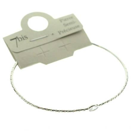 371673CRYARG Bracelet Jonc Doré Crystal Ajustable Ovale Cloisonné