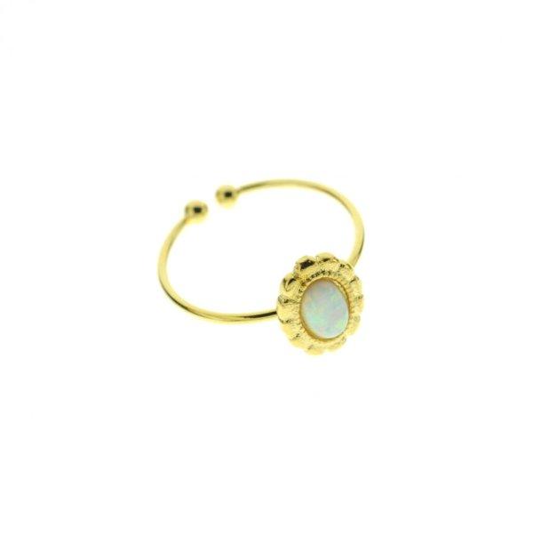 871667BLADOR Bague Médaillon Doré Pierre Semi-précieuse Opale Naturelle