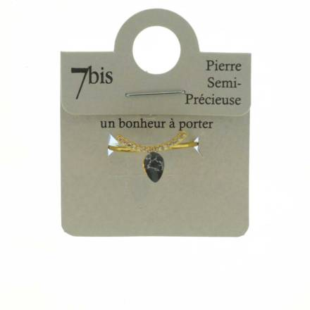 870581NOIDOR Bague Goutte Et Arc Doré Noir Strass Zircon