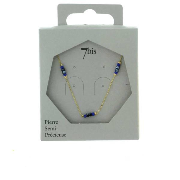 171280BLE Collier Perle Doré Bleu Perle Facette