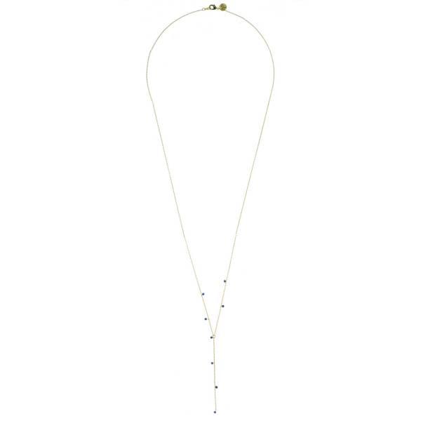 171322BLEDOR Collier Perles Précieuses Doré Bleu Très Long Laiton