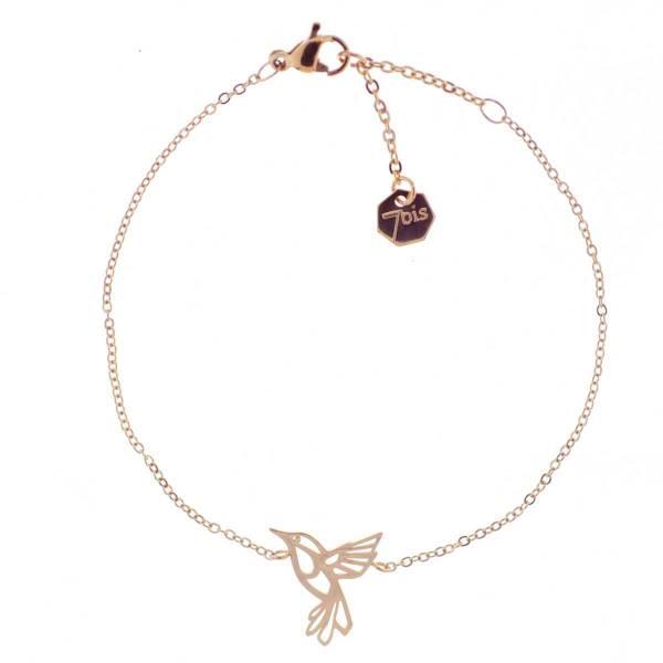 371298DORINX Bracelet Colibri Doré Acier Poétique