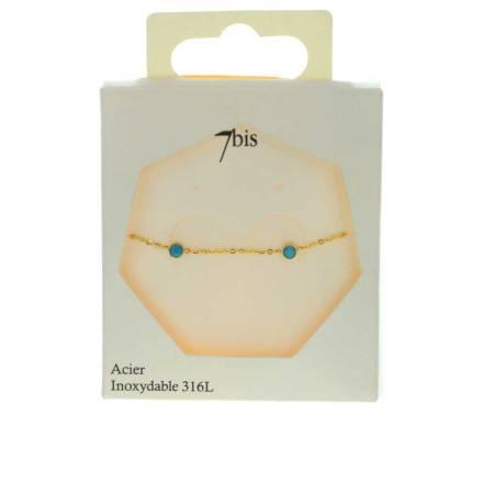 371568DORTUR Bracelet Summer Doré Turquoise Pierres Acier Inoxydable