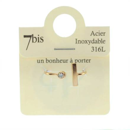 871439DORROSINX Bague Barre Verticale Doré Rosé Ajustable Acier Inoxydable