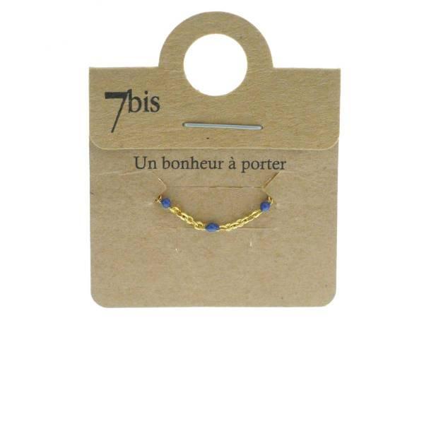 871478BLE Bague Perles Doré Bleu Ajustable Laiton Doré