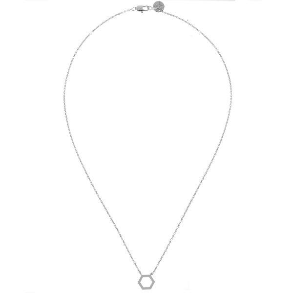 137322ARG Collier Hexagone Argenté Géométrique Laiton