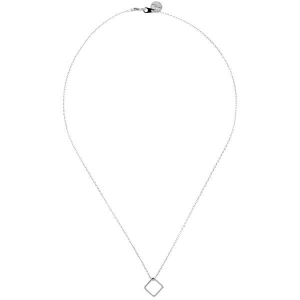 138718ARG Collier Losange Argenté Géométrique Laiton