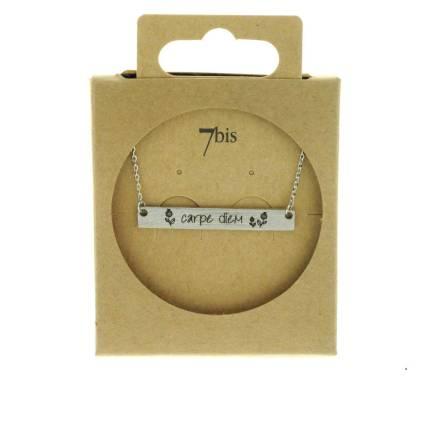 170080ARG Collier Carpe Diem Argenté Rectangle Plaque Gravée