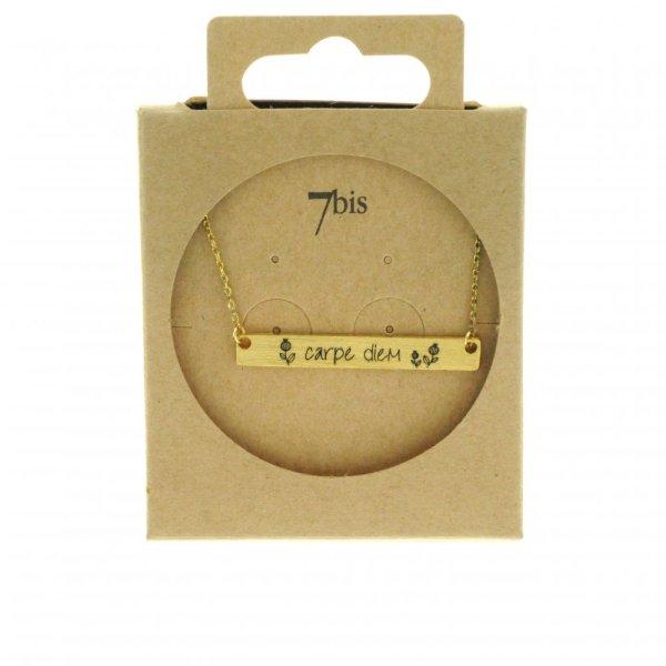 170080DOR Collier Carpe Diem Doré Rectangle Plaque Gravée