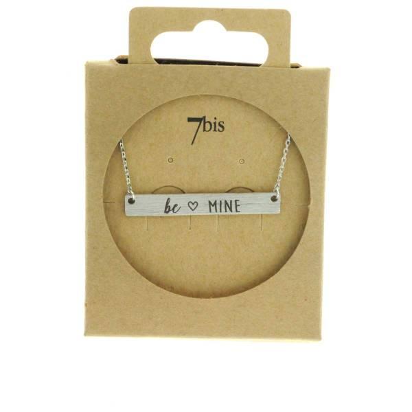 170081ARG Collier Be Mine Argenté Rectangle Plaque Gravée