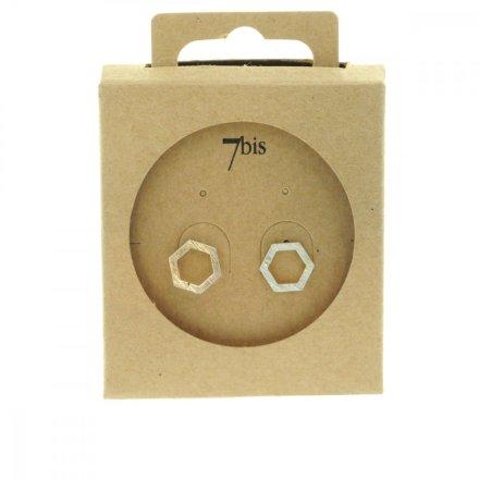 237322ARG Boucles D'oreilles Hexagone Argenté Géométrique Laiton