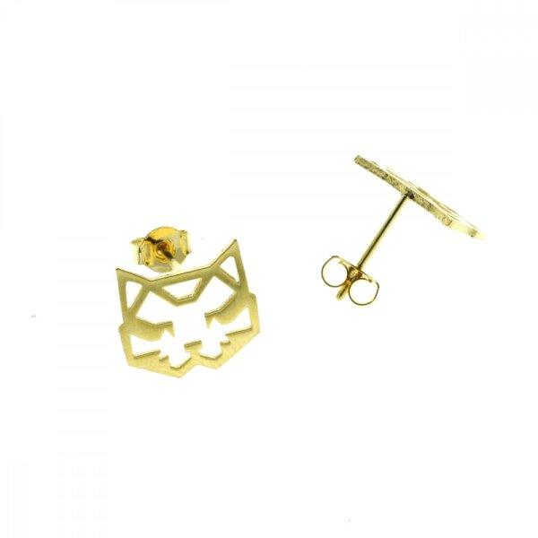 237549DOR Boucles D'oreilles Chat Doré Tete Géométrique