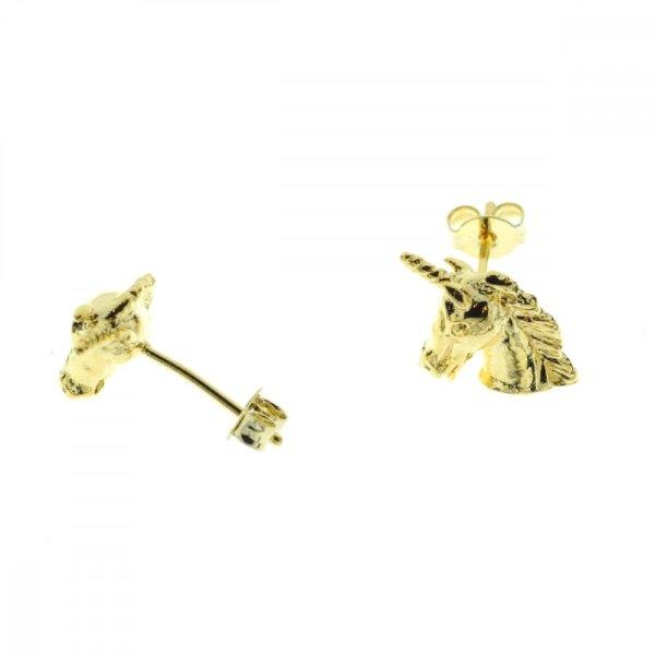270286DOR Boucles D'oreilles Licorne Doré Figurine Délicate