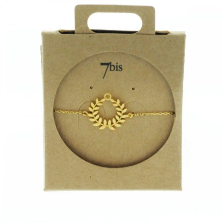 337143DOR Bracelet Végétal Doré Couronne Laurier Laiton