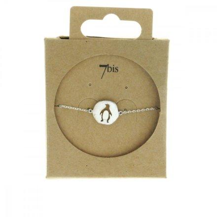 337319ARG Bracelet Pingouin Argent Medaillon Médaille