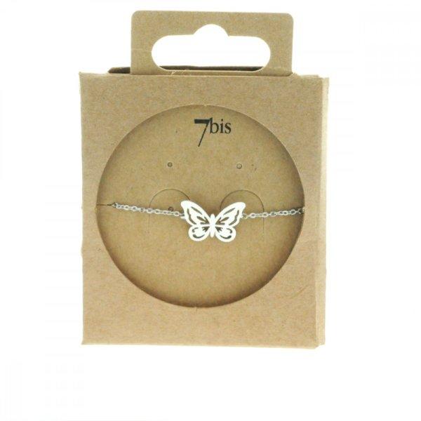 338720ARG Bracelet Papillon Argenté Reperçé Romantique