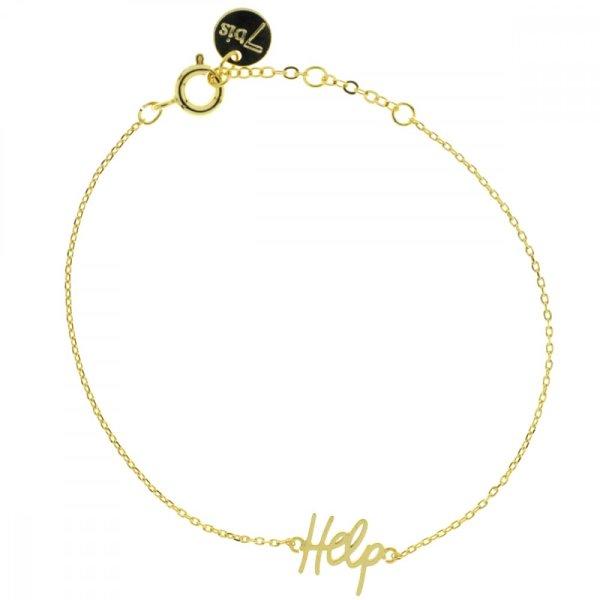 338901DOR Bracelet Help Doré Plaque Gravé Message
