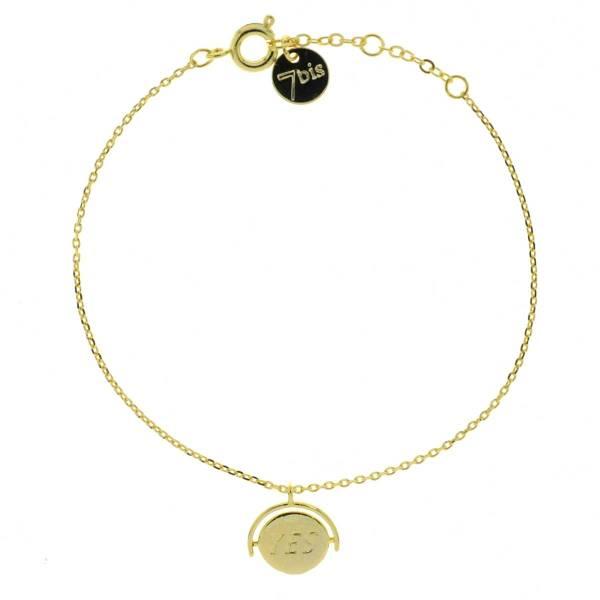 338911DOR Bracelet Yes No Doré Réversible Médaille Gravée