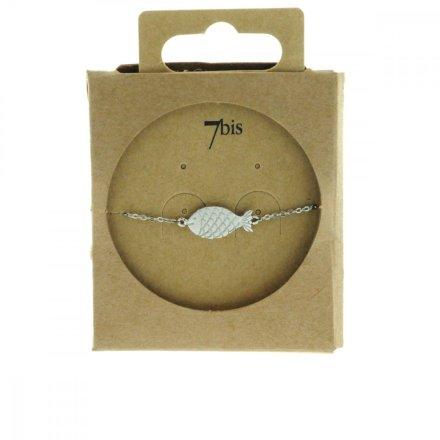 370289ARG Bracelet Poisson Argenté Gravé Écailles