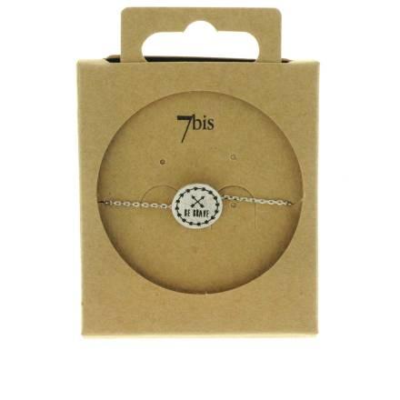370556ARG Bracelet Be-brave Argenté Message Imprimé