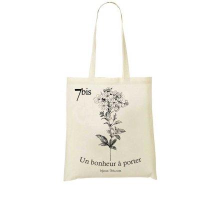671571 Sac Toile Dessin De Fleur Blanc Cassé Dentelaire Du Cap Fermeture