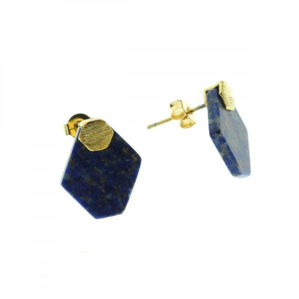 270547BLETUR Boucles D'oreilles Losange Doré Bleu Lapis-lazuli Pierre Semi-précieuse