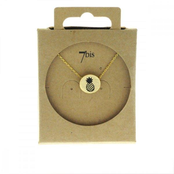 170549DOR Collier Ananas Doré Médaille Imprimé