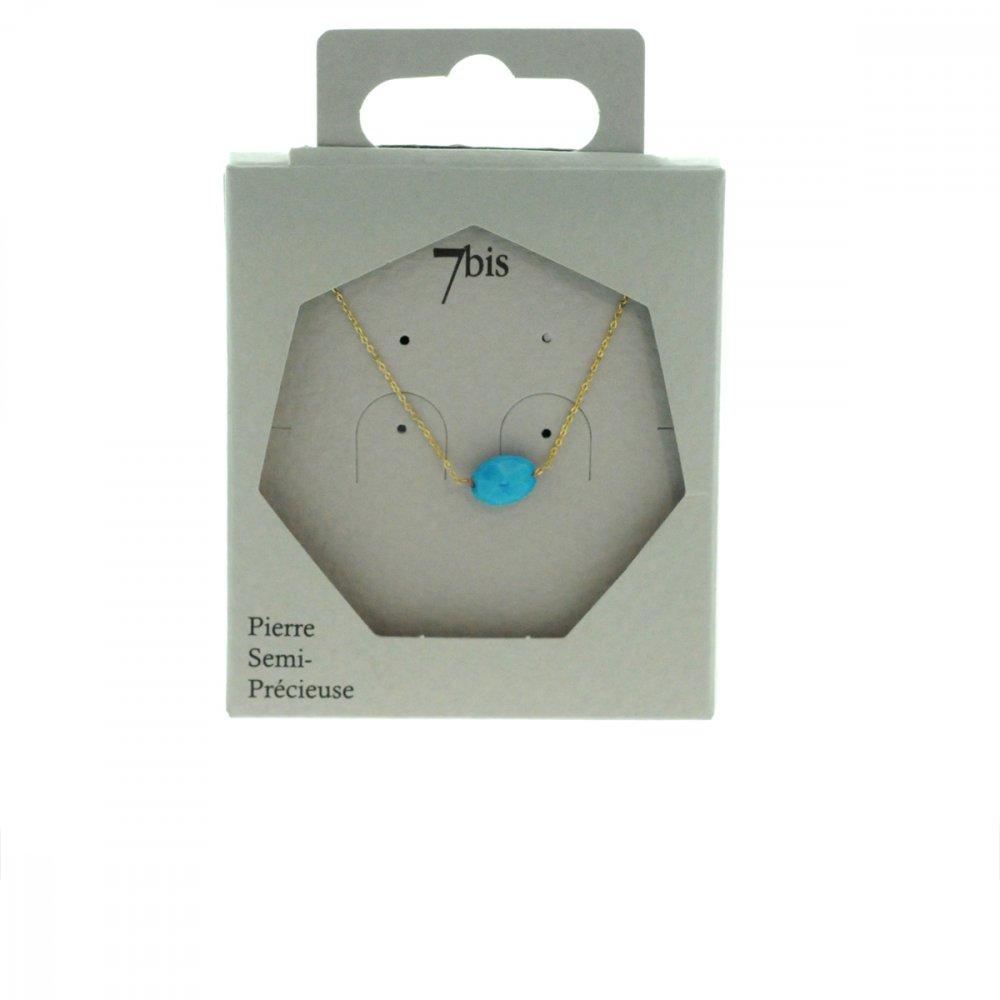 170793TUR Collier Turquoise Doré Turquoise Ovale Précieux Chaine Fine