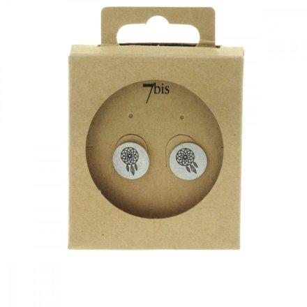 270551ARG Boucles D'oreilles Dreamcatcher Argenté Médaille Imprimé