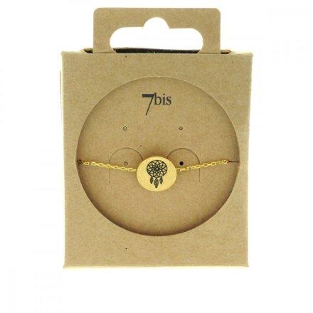 370551DOR Bracelet Dreamcatcher Doré Médaille Imprimé