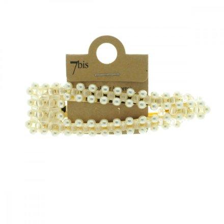 670612DOR Barrette Perles Or Crème Triangle Clip