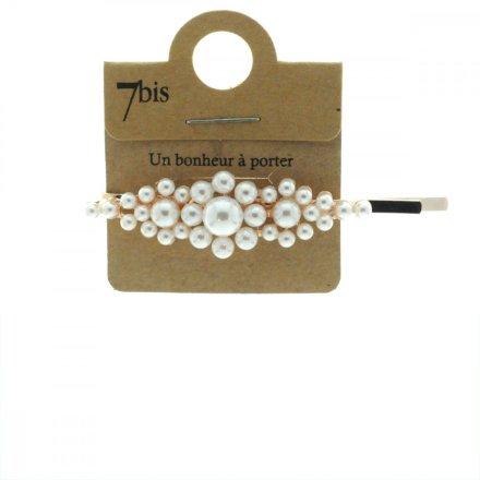 763993 Barrette Perles Or Crème Grosses Fleurs Pince