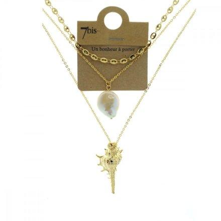 172043DOR Collier Perle Coquillage Doré 3 Rangs