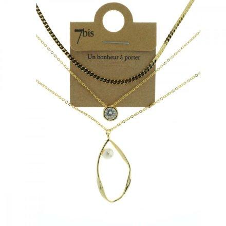 172046DOR Collier Perle Encerclée Strass Doré 3 Rangs
