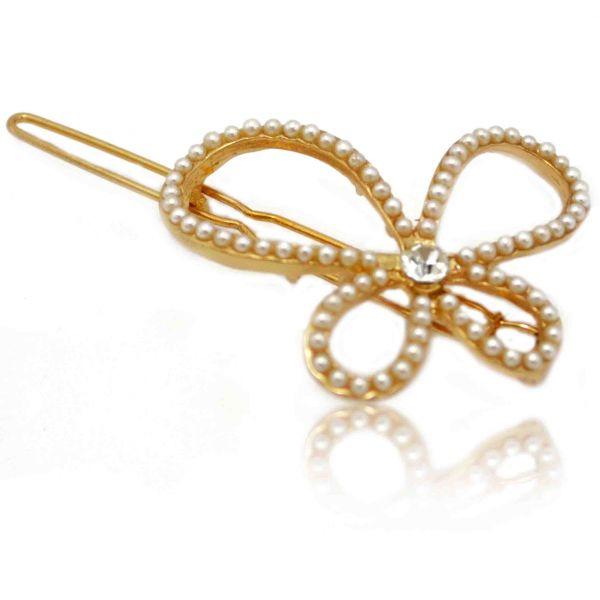 Barrette Papillon Perl En Mtal Dor Et Perles