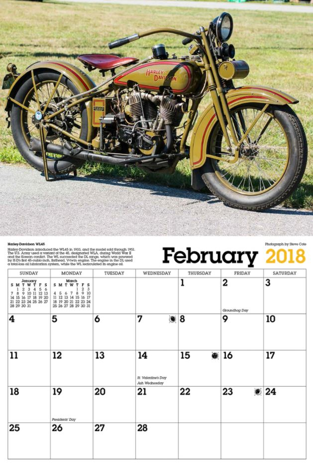 February 2018 Calendar Vintage : Gift intermission classic vintage motorcycle