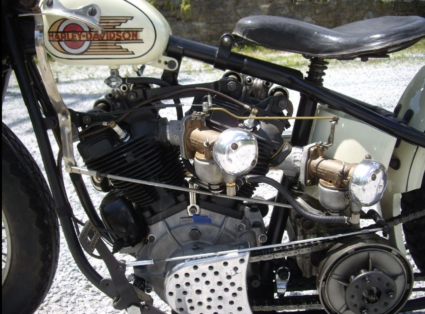 Harley Davidson EL Knucklehead Hillclimber - Engine and Dual Carbs