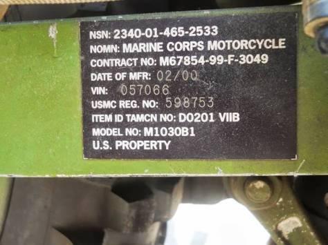 Kawasaki KLR650 M1030B1 - Identification Tag