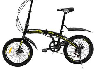 Murtisol Foldable Bike 20'' 7 Speed Sports School Folding City Commuter Bicycle Shimano Dreailleur Disc Brake Bike