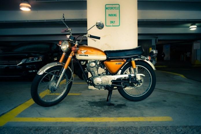 laid-up motorbike