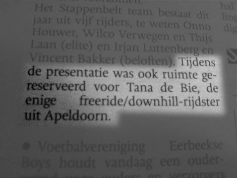 artikel De Stentor nav teampresentatie Stappenbelt 2007