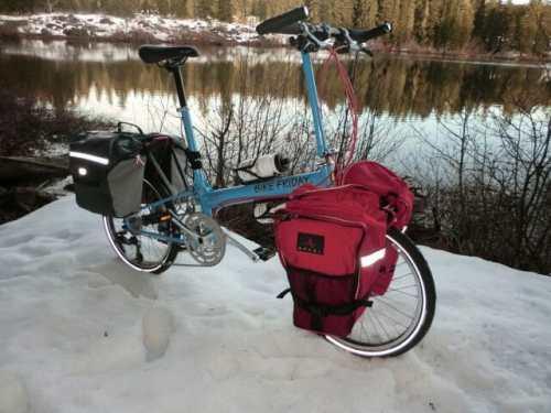 New World Tourist folding bike on snow