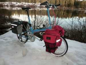 Bike Friday New World Tourist folding bike on snow