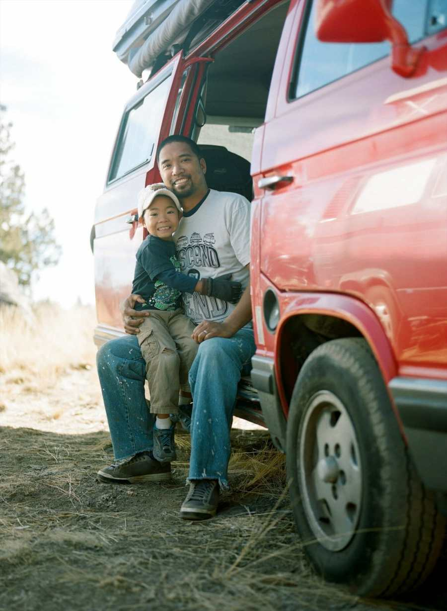 Fel with his son and their Vanagon at Descend on Bend 2014